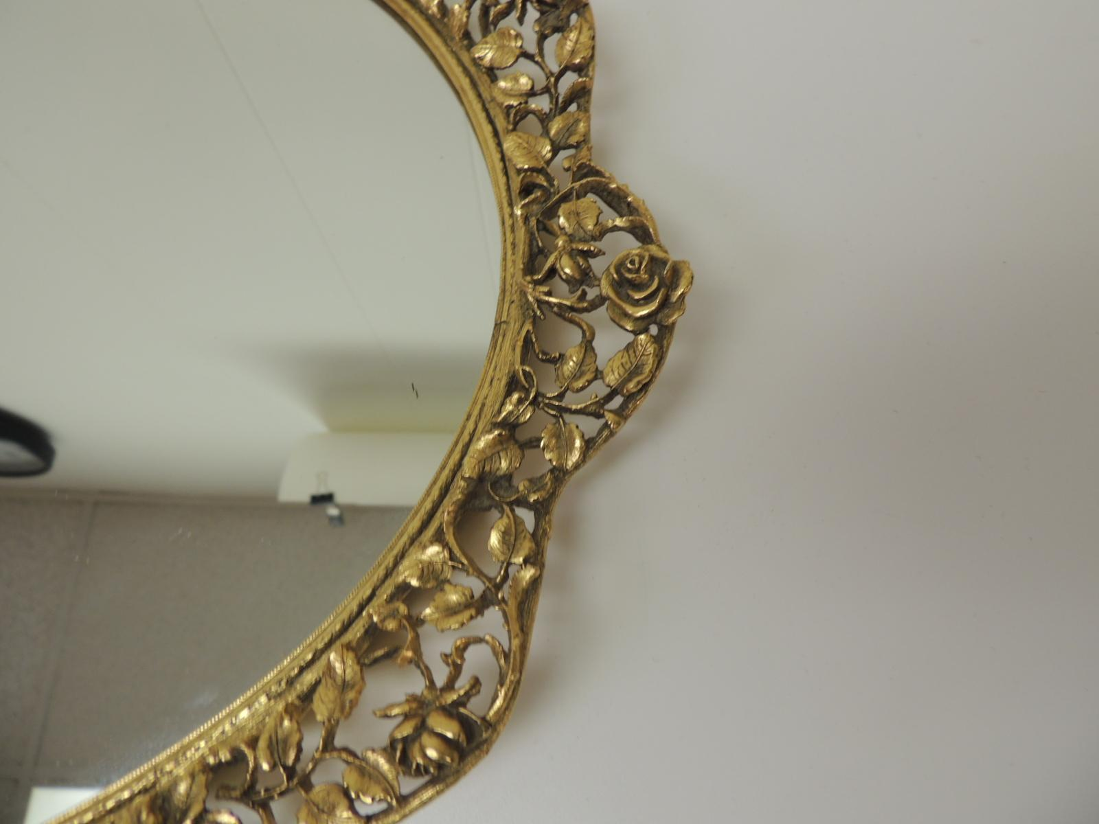 Large Gold Vintage French Filigree Oval Brass Vanity Tray With Mirror At 1stdibs
