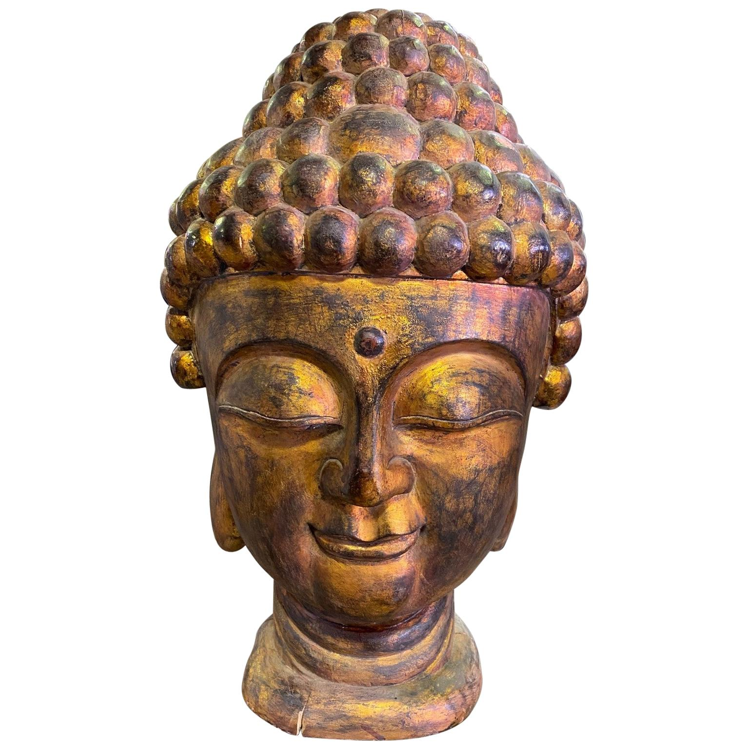Large Golden Carved Wood and Gilt Temple Shrine Buddha Head Bust