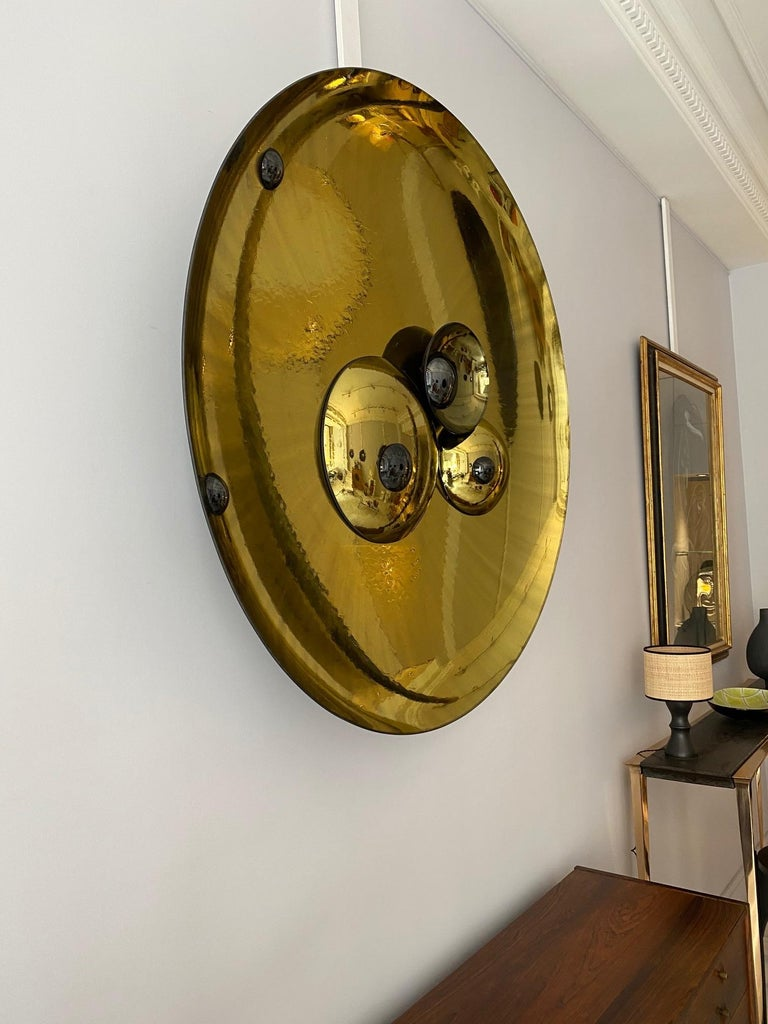 Contemporary Large Golden Concave Mirror One of a Kind by Christophe Gaignon For Sale