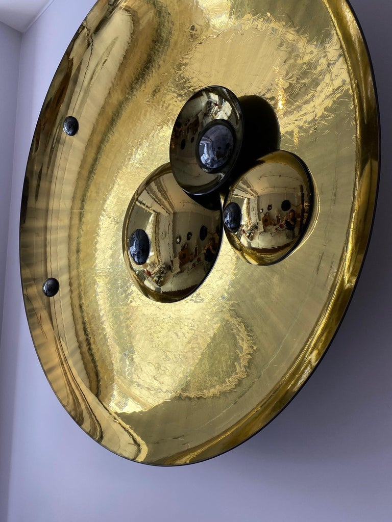 Glass Large Golden Concave Mirror One of a Kind by Christophe Gaignon For Sale