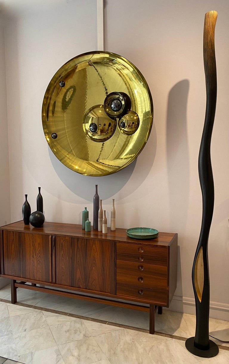 Large Golden Concave Mirror One of a Kind by Christophe Gaignon For Sale 1