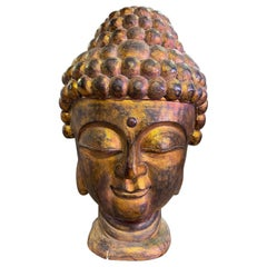 Large Golden Hand Carved Wood and Gilt Temple Shrine Buddha Head Bust