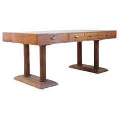 Large Golden Oak Library Table, Desk, English, Art Deco, 20th Century, Masculine