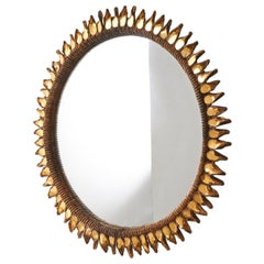 "Large ""Golden Thistle"" Mirror by Line Vautrin"