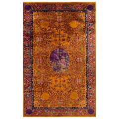 Large Goldenrod Antique Chinese Art Deco Wool Rug