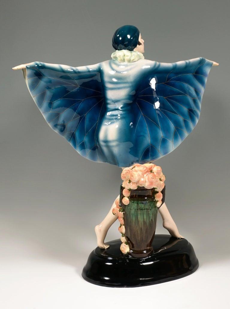 Art Deco Large Goldscheider Vienna Art Déco Figure 'The Captured Bird' by Lorenzl c. 1925
