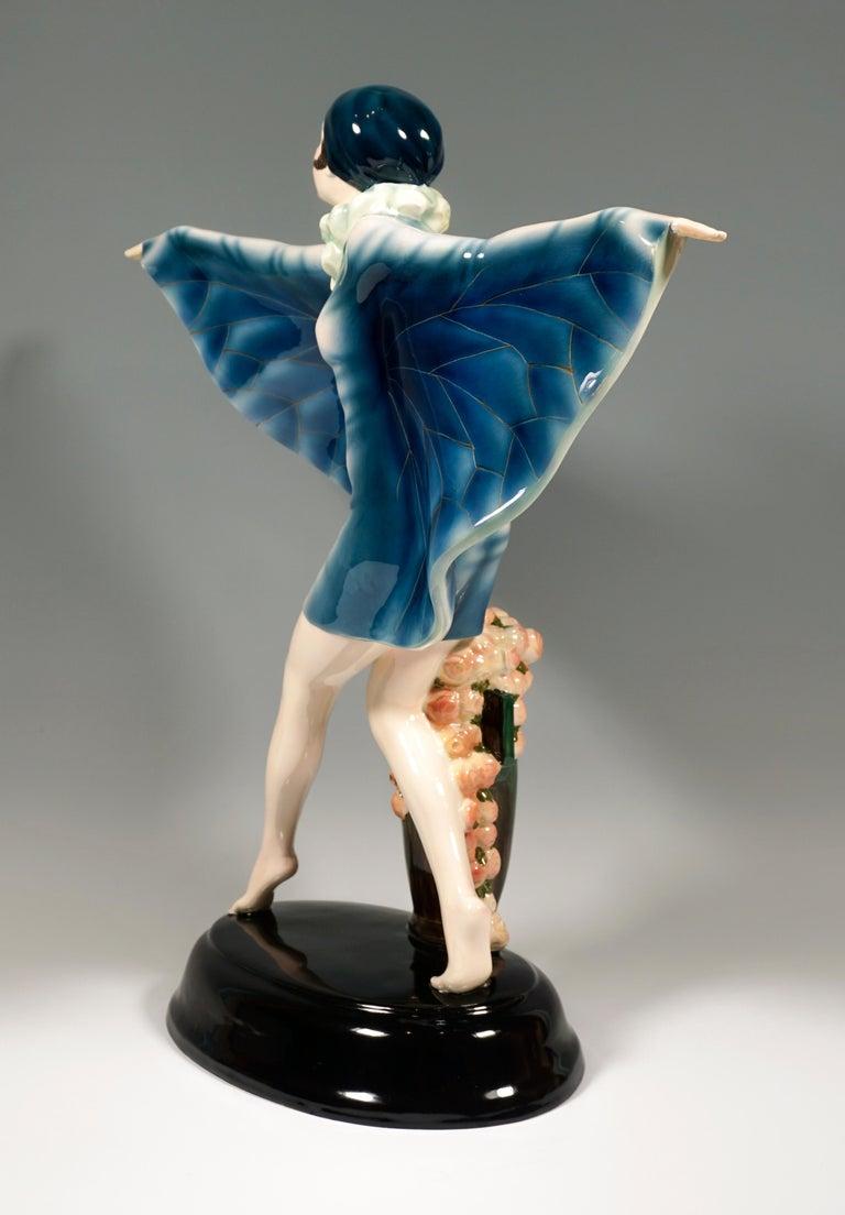Austrian Large Goldscheider Vienna Art Déco Figure 'The Captured Bird' by Lorenzl c. 1925