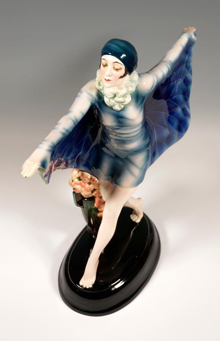 Hand-Painted Large Goldscheider Vienna Art Déco Figure 'The Captured Bird' by Lorenzl c. 1925