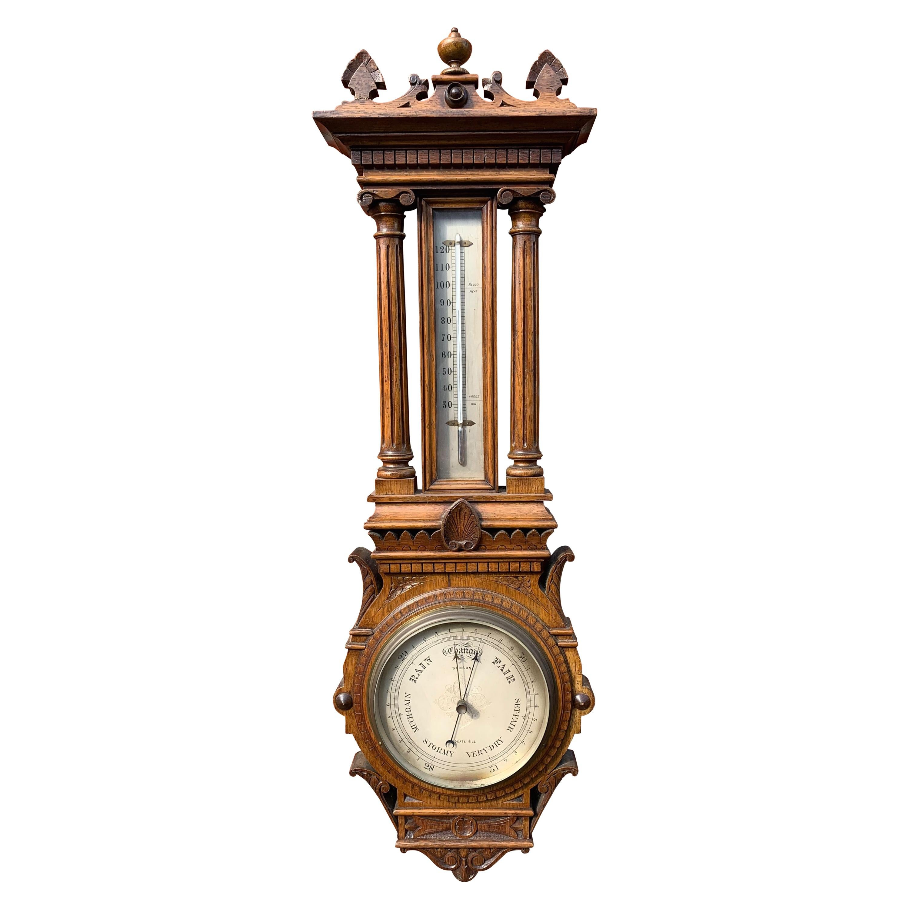 Large, Good Condition and Stylish Antique English Victorian Oak Wall Barometer