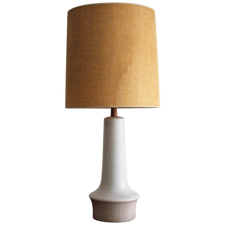 Large Gordon & Jane Martz Studio Tall Ceramic Table Lamp with Original Shade For Sale