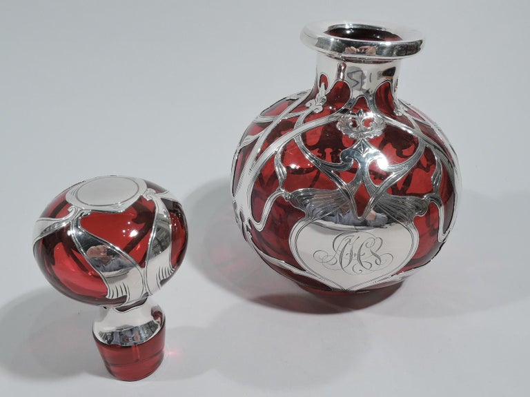 American Large Gorham Art Nouveau Red Silver Overlay Cologne Bottle For Sale