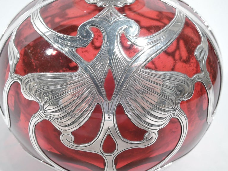 20th Century Large Gorham Art Nouveau Red Silver Overlay Cologne Bottle For Sale