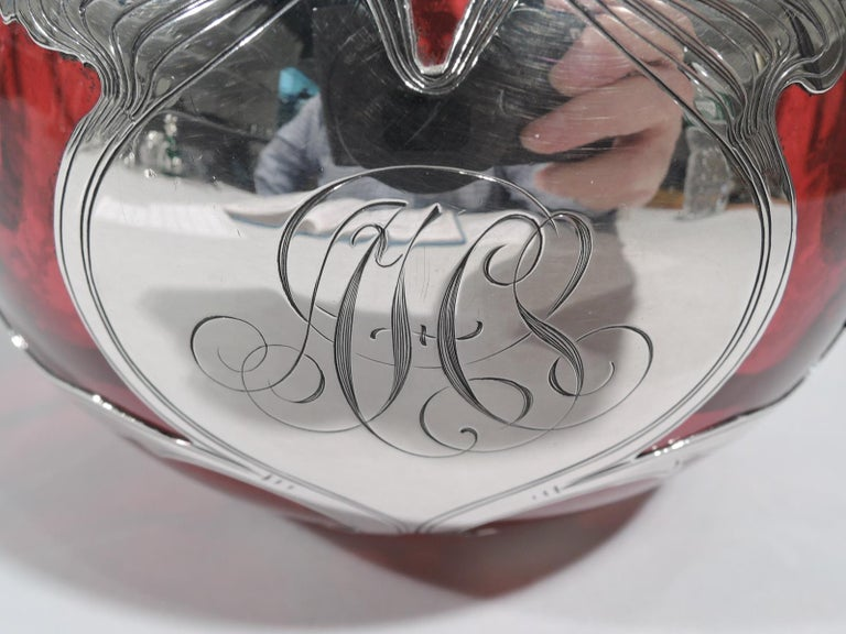 Large Gorham Art Nouveau Red Silver Overlay Cologne Bottle For Sale 1