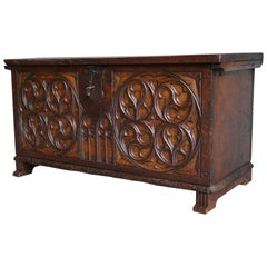 Large Gothic Revival Hand Carved Elm Blanket Chest w. Perfect Working Lock & Key