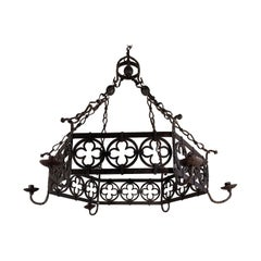 Large Gothic Revival Wrought Iron Chandelier for Dining Room / Restaurant Etc
