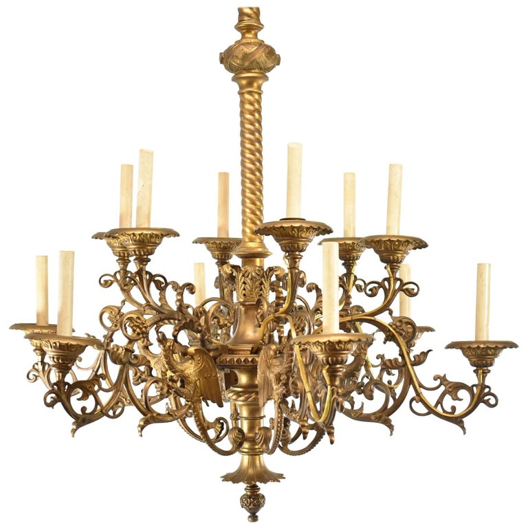 Large Gothic / Rococo Bronze Six-Arm 12-Light Chandelier with Mythical Bird For Sale