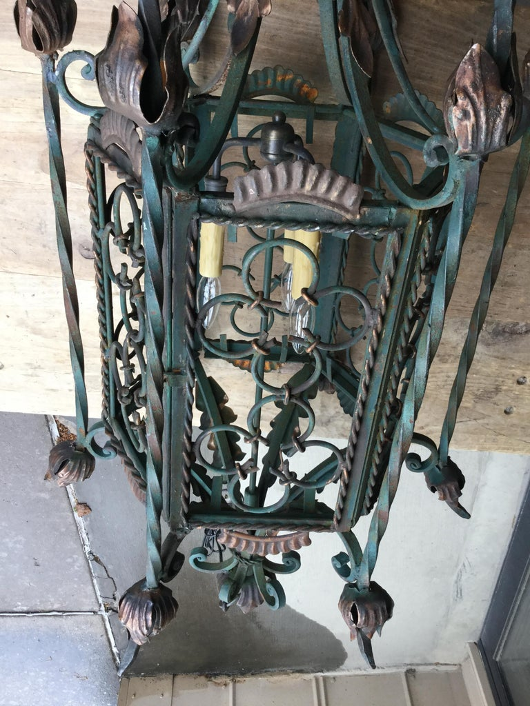 Unknown Large Gothic Style Patinated Wrought Iron Lantern with Gilt Accents For Sale