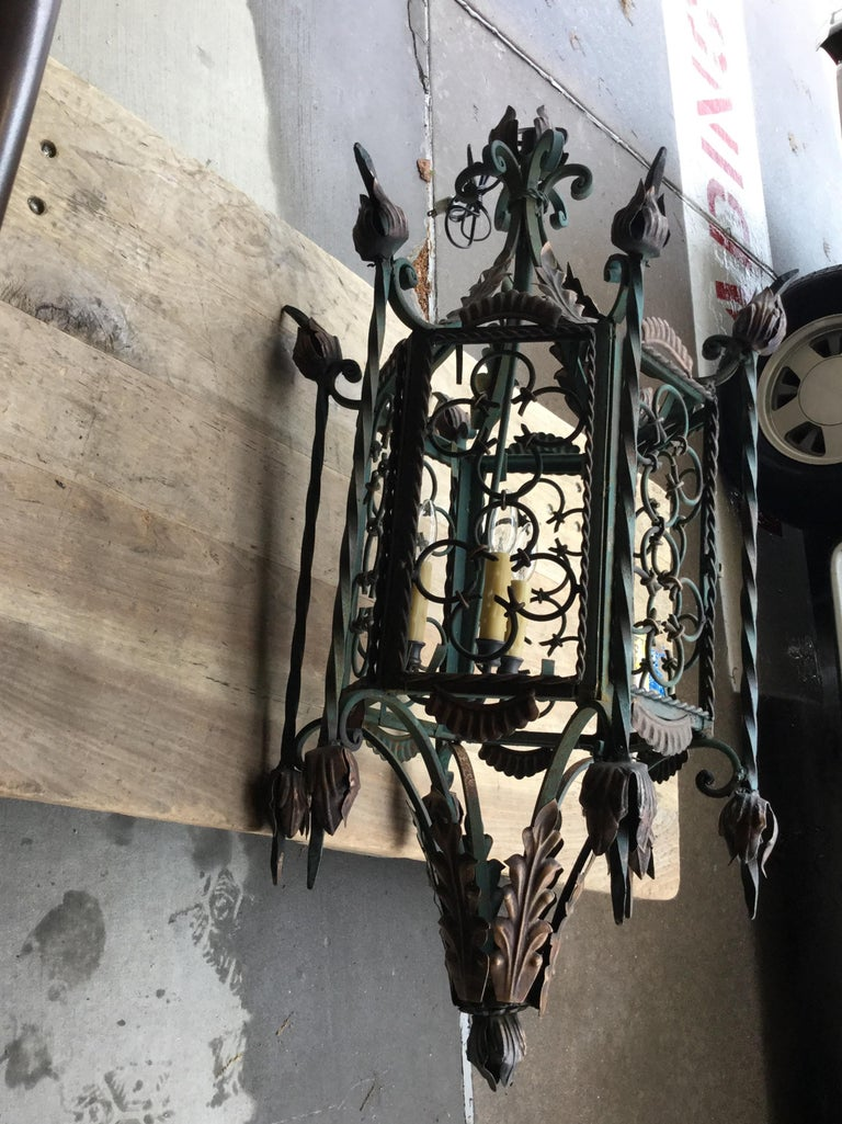 20th Century Large Gothic Style Patinated Wrought Iron Lantern with Gilt Accents For Sale