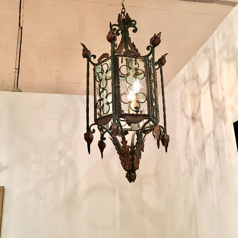Large Gothic Style Patinated Wrought Iron Lantern with Gilt Accents For Sale 1