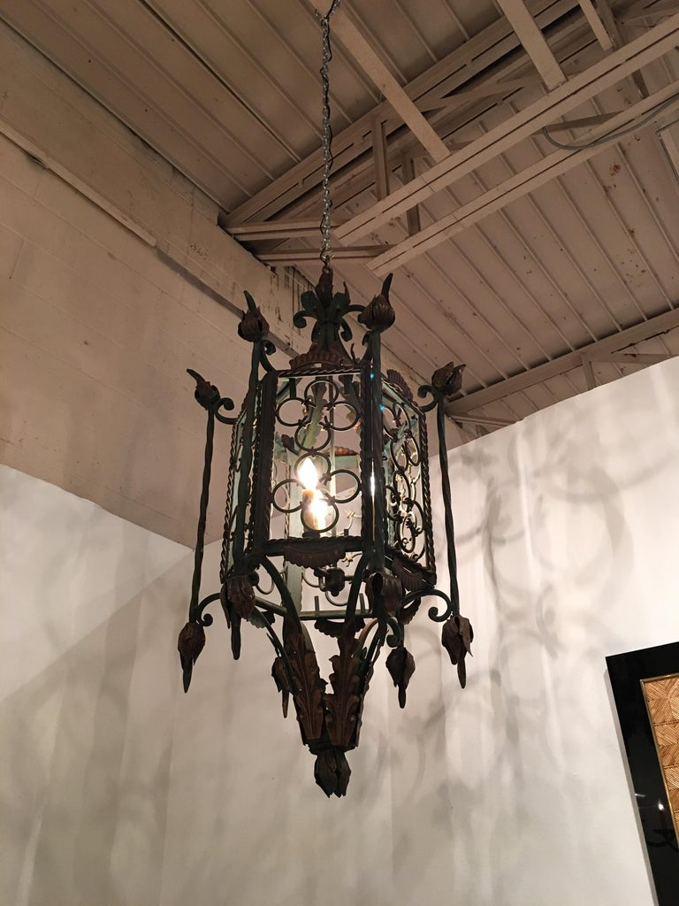 Large Gothic Style Patinated Wrought Iron Lantern with Gilt Accents For Sale 3