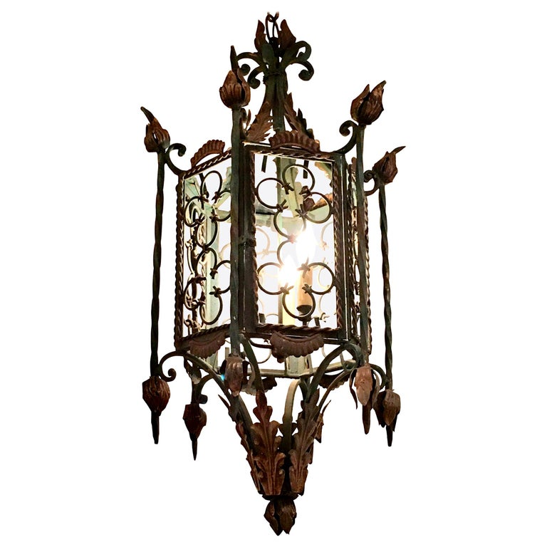 Large Gothic Style Patinated Wrought Iron Lantern with Gilt Accents For Sale