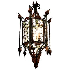 Large Gothic Style Patinated Wrought Iron Lantern with Gilt Accents
