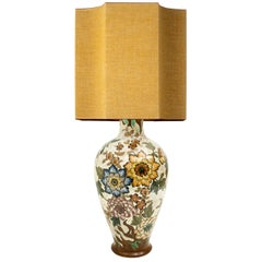 Large Gouda Royal Table Lamp with Silk Shade by R Houben, Hand Painted, 1930
