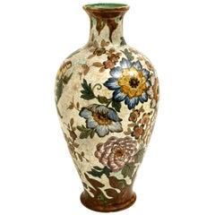 Large Gouda Royal Vase Signed, Hand Painted, Holland, 1930