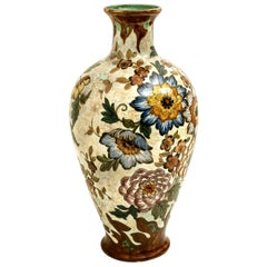 Large Gouda Royal Vase Signed, Hand Painted, Holland, 1930