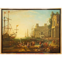 Large Grand Tour Painting after Claude Lorraine Port Scene with Villa Medici