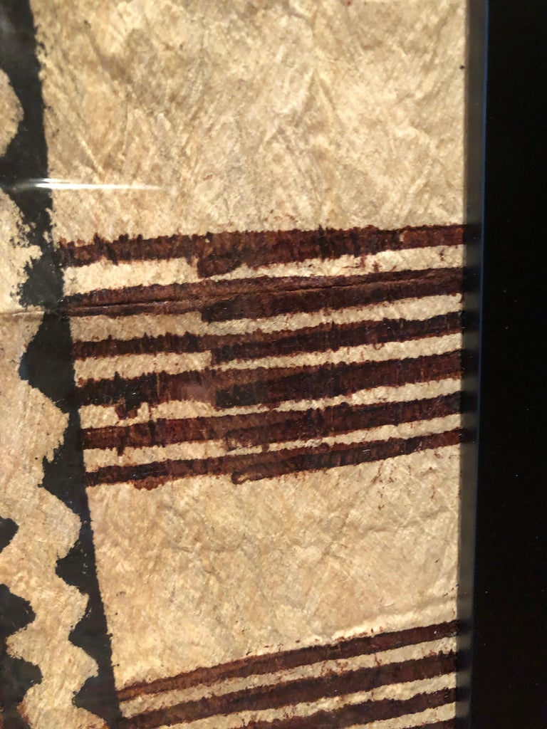 Botswanan Large Graphic African Bark Cloth Painting For Sale