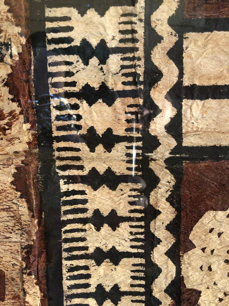 Mid-20th Century Large Graphic African Bark Cloth Painting For Sale