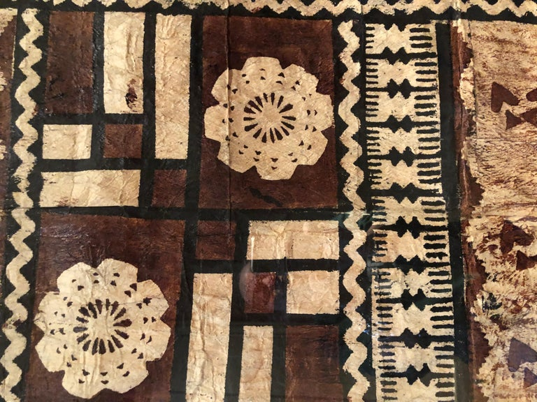 Textile Large Graphic African Bark Cloth Painting For Sale