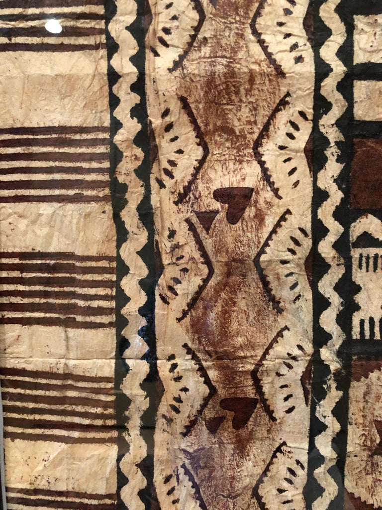 Large Graphic African Bark Cloth Painting For Sale 1
