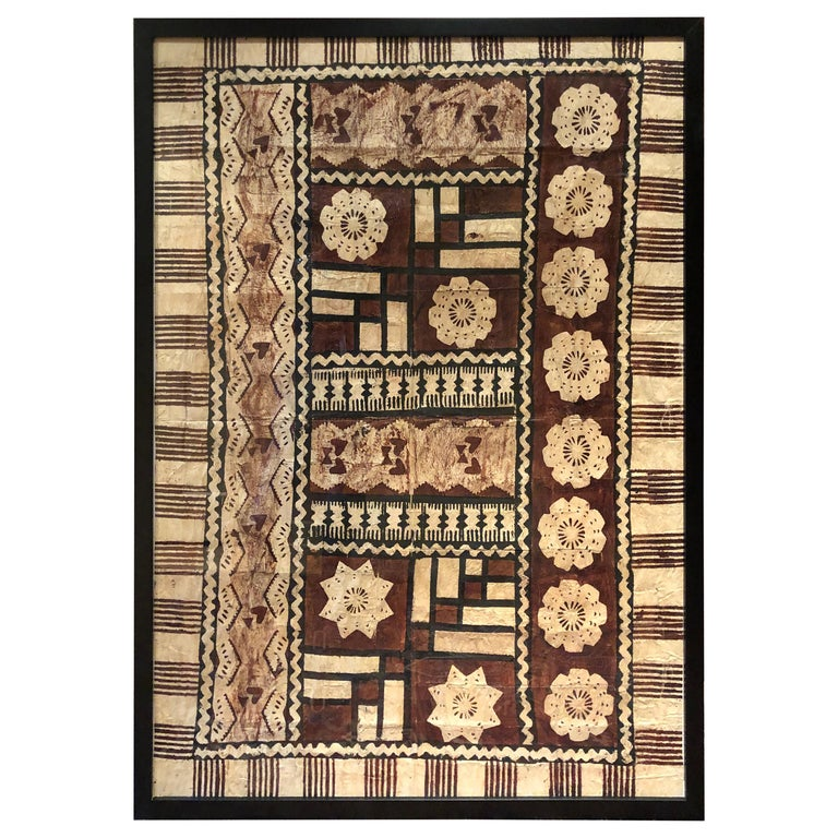 Large Graphic African Bark Cloth Painting For Sale
