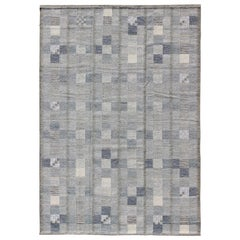Large Gray and Blue Scandinavian Flat-Weave Design Rug with Geometric Design