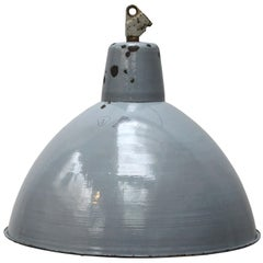 Large Gray Enamel Vintage Industrial Pendants Hanging Lights