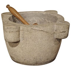 Large Gray Marble Mortar and Pestle from France, 1800s