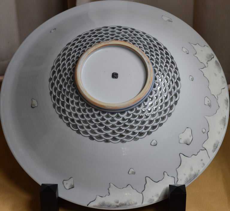 Large Gray White Porcelain Deep Charger by Japanese Master Artist In New Condition For Sale In Vancouver, CA