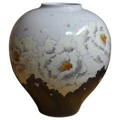 Large Gray White Porcelain Vase by Japanese Master Artist