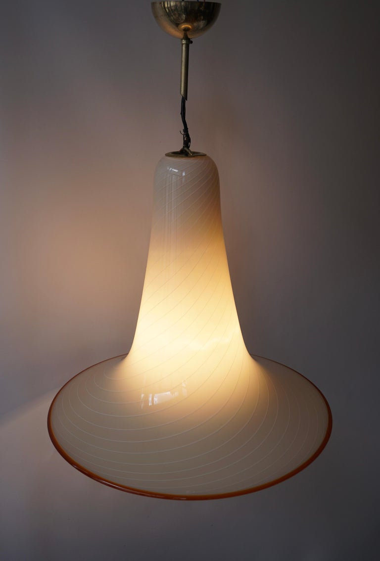 Hollywood Regency Effetre Murano Glass Trumpet Pendant Lamp Attributed to Lino Tagliapietra For Sale