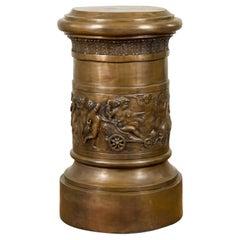 Large Greco-Roman Style Contemporary Bronze Pedestal with Bacchanalia Frieze