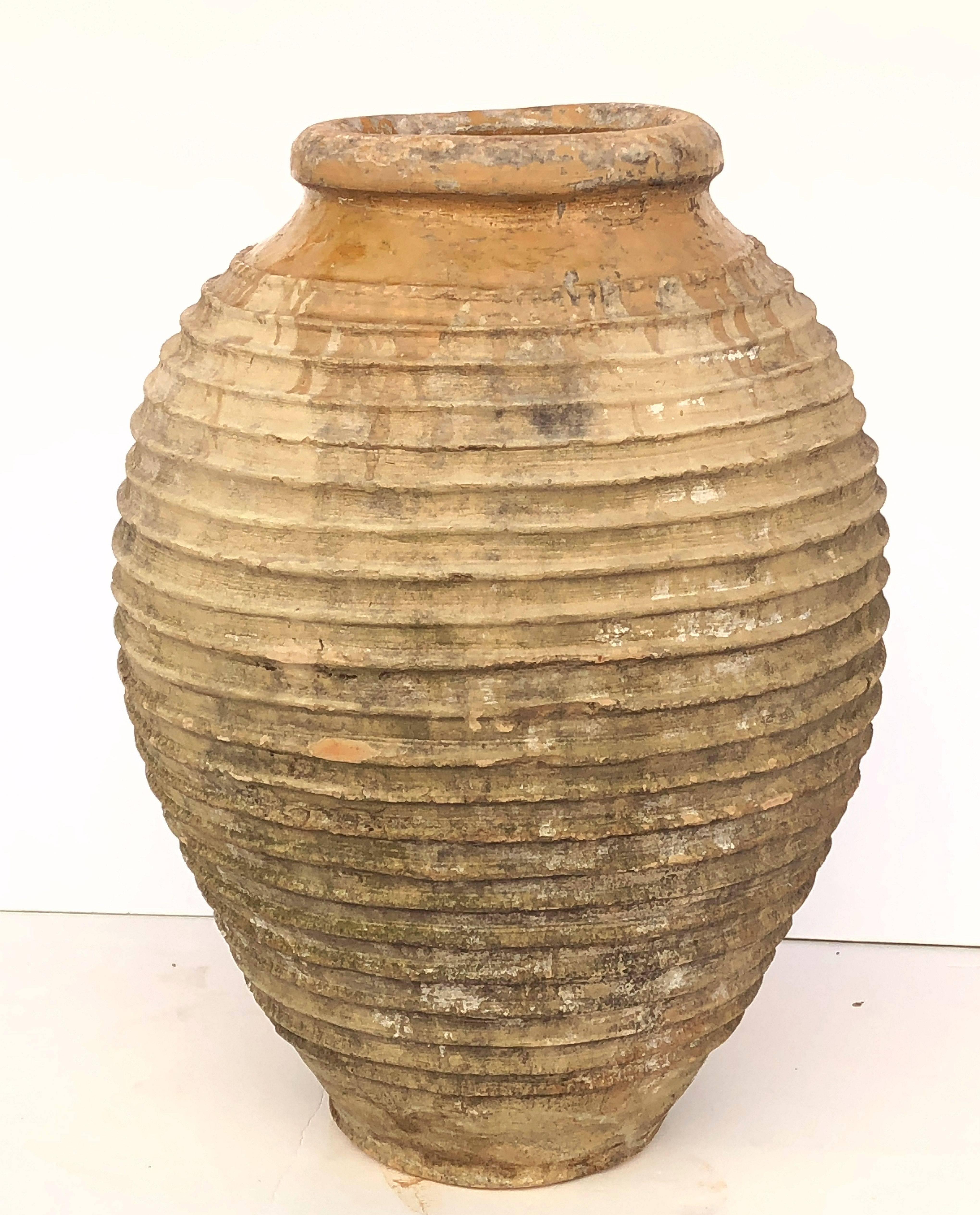 Delicieux Glazed Large Greek Garden Urn Or Oil Jar For Sale