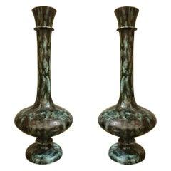 Large Green & Black Amphora Shape Ceramic Vases Mid Century modern, Italy 1960