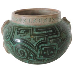 Large Green and Black Vase with Snakes