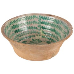 Large Green and Cream Glazed Majolica Bowl