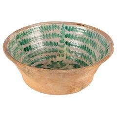 Large Green and Cream Glazed Majolica Bowl