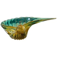 Large Green and Gold Murano Italian Glass Shell