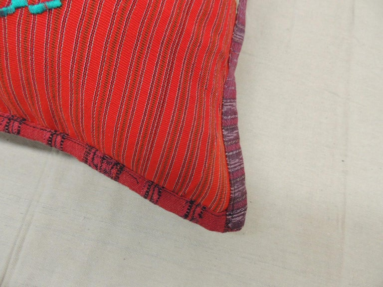 Machine-Made Large Green and Red Guatemalan Embroidered Square Decorative Pillow For Sale