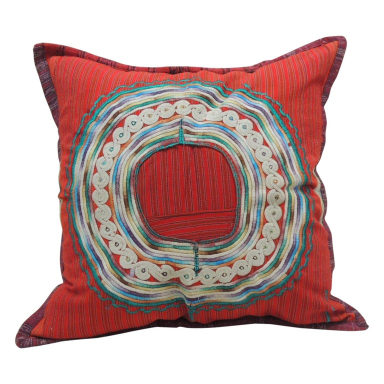 Large Green and Red Guatemalan Embroidered Square Decorative Pillow For Sale